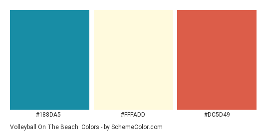 Volleyball on the Beach - Color scheme palette thumbnail - #188da5 #fffadd #dc5d49