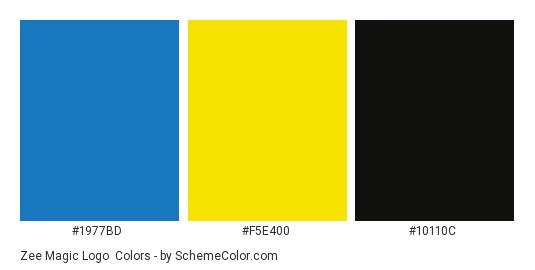 Zee Magic Logo - Color scheme palette thumbnail - #1977bd #f5e400 #10110c