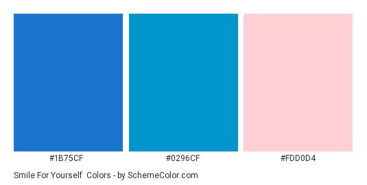 Smile for Yourself - Color scheme palette thumbnail - #1B75CF #0296CF #FDD0D4