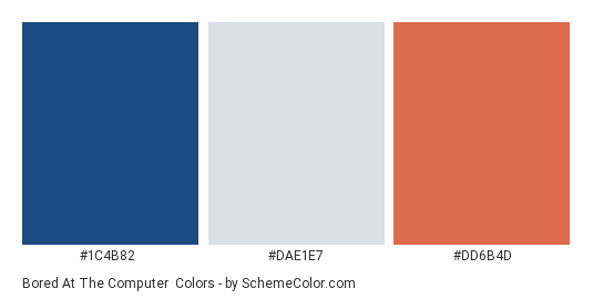Bored at the Computer - Color scheme palette thumbnail - #1C4B82 #DAE1E7 #DD6B4D