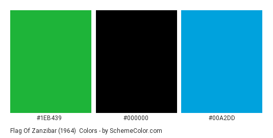 Flag of Zanzibar (1964) - Color scheme palette thumbnail - #1EB439 #000000 #00A2DD