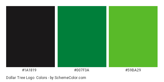 Dollar Tree Logo - Color scheme palette thumbnail - #1a1819 #007f3a #59ba29