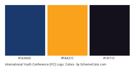 International Youth Conference (IYC) Logo - Color scheme palette thumbnail - #1a3a6d #faa21c #14111c