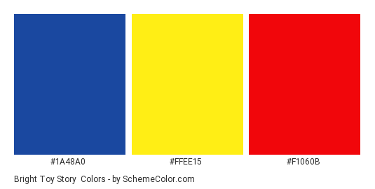 Bright Toy Story - Color scheme palette thumbnail - #1a48a0 #ffee15 #f1060b