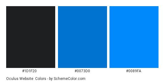 oculus Website - Color scheme palette thumbnail - #1d1f20 #0073d0 #0089fa
