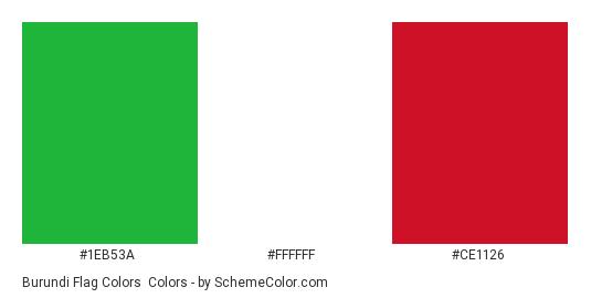 Burundi Flag Colors - Color scheme palette thumbnail - #1eb53a #ffffff #ce1126