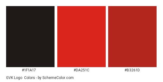 GVK Logo - Color scheme palette thumbnail - #1f1a17 #da251c #b3261d