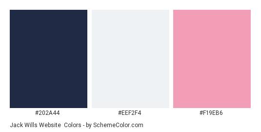 Jack Wills Website - Color scheme palette thumbnail - #202a44 #eef2f4 #f19eb6