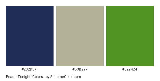 Peace Tonight - Color scheme palette thumbnail - #202d57 #b3b297 #529424