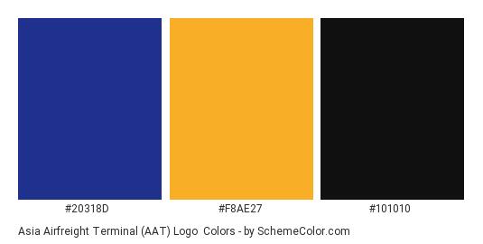 Asia Airfreight Terminal (AAT) Logo - Color scheme palette thumbnail - #20318d #f8ae27 #101010
