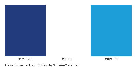 Elevation Burger Logo - Color scheme palette thumbnail - #223b7d #ffffff #1d9ed9
