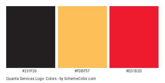 Quanta Services Logo - Color scheme palette thumbnail - #231f20 #fdbf57 #ed1b2d