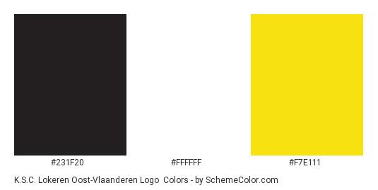 K.S.C. Lokeren Oost-Vlaanderen Logo - Color scheme palette thumbnail - #231f20 #ffffff #f7e111