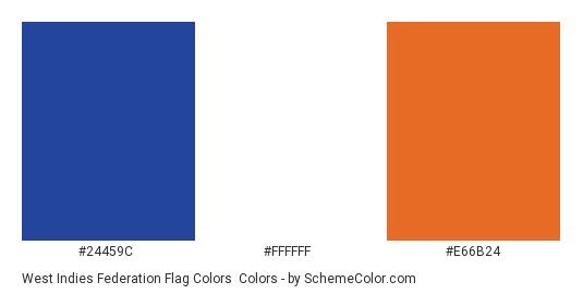 West Indies Federation Flag Colors - Color scheme palette thumbnail - #24459C #FFFFFF #E66B24