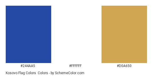 Kosovo Flag Colors - Color scheme palette thumbnail - #244aa5 #ffffff #d0a650