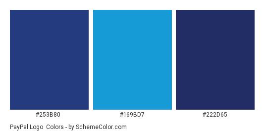 PayPal Logo - Color scheme palette thumbnail - #253b80 #169bd7 #222d65