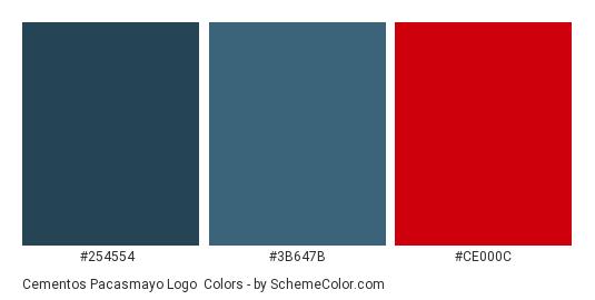 Cementos Pacasmayo Logo - Color scheme palette thumbnail - #254554 #3b647b #ce000c