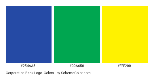 Corporation Bank Logo - Color scheme palette thumbnail - #254aa5 #00a650 #fff200