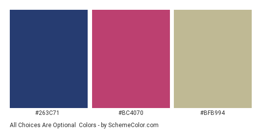 All Choices are Optional - Color scheme palette thumbnail - #263c71 #bc4070 #bfb994