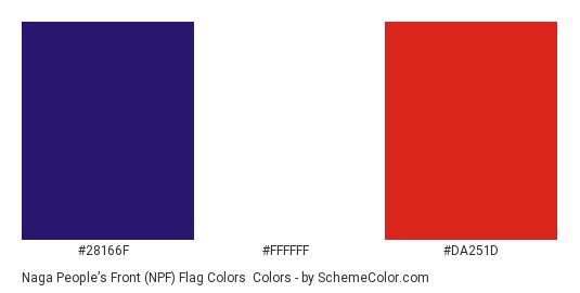 Naga People's Front (NPF) Flag Colors - Color scheme palette thumbnail - #28166f #ffffff #da251d
