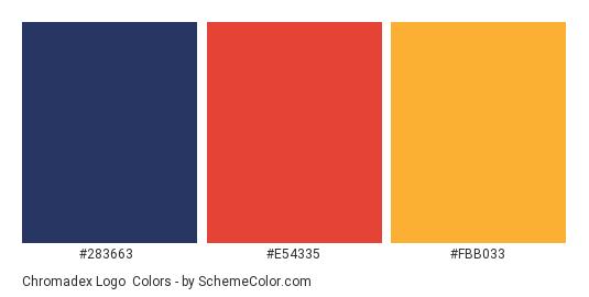 Chromadex Logo - Color scheme palette thumbnail - #283663 #e54335 #fbb033
