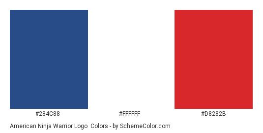 American Ninja Warrior Logo - Color scheme palette thumbnail - #284C88 #FFFFFF #D8282B