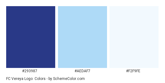 FC Vereya Logo - Color scheme palette thumbnail - #293987 #aedaf7 #f2f9fe