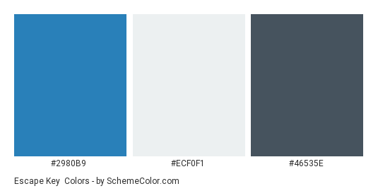 Escape Key - Color scheme palette thumbnail - #2980B9 #ECF0F1 #46535E