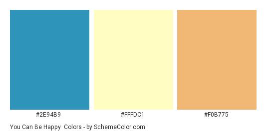 You Can Be Happy - Color scheme palette thumbnail - #2E94B9 #FFFDC1 #F0B775