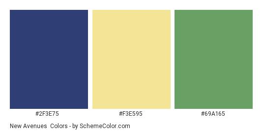 New Avenues - Color scheme palette thumbnail - #2F3E75 #F3E595 #69A165