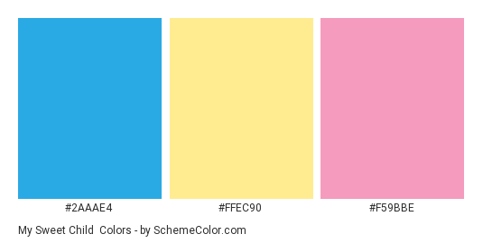 My Sweet Child - Color scheme palette thumbnail - #2aaae4 #ffec90 #f59bbe