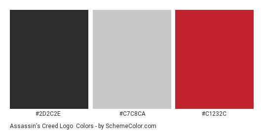 Assassin's Creed Logo - Color scheme palette thumbnail - #2d2c2e #c7c8ca #c1232c