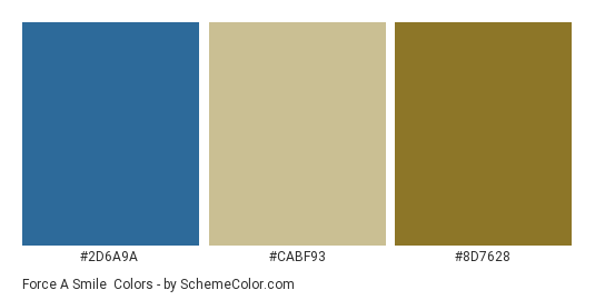 Force a Smile - Color scheme palette thumbnail - #2d6a9a #cabf93 #8d7628