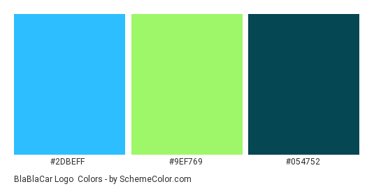BlaBlaCar Logo - Color scheme palette thumbnail - #2dbeff #9ef769 #054752