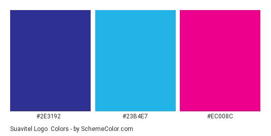 Suavitel Logo - Color scheme palette thumbnail - #2e3192 #23b4e7 #ec008c