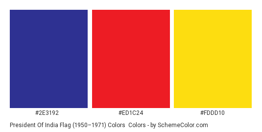 President of India Flag (1950–1971) Colors - Color scheme palette thumbnail - #2e3192 #ed1c24 #fddd10