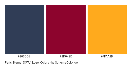 Paris Eternal (OWL) Logo - Color scheme palette thumbnail - #303D56 #8D042D #FFAA1D