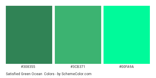 Satisfied Green Ocean - Color scheme palette thumbnail - #308355 #3cb371 #00fa9a