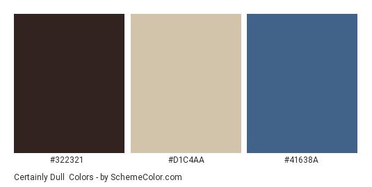 Certainly Dull - Color scheme palette thumbnail - #322321 #d1c4aa #41638a