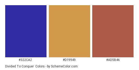 Divided to Conquer - Color scheme palette thumbnail - #322ca2 #d19949 #ad5b46