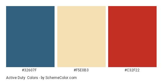 Active Duty - Color scheme palette thumbnail - #32607f #f5e0b3 #c32f22