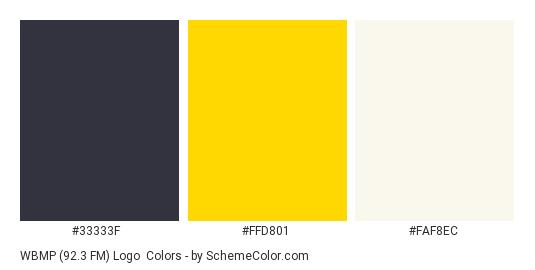 WBMP (92.3 FM) Logo - Color scheme palette thumbnail - #33333f #ffd801 #faf8ec