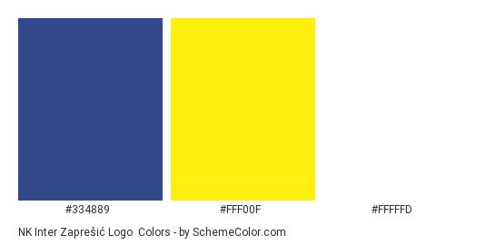 NK Inter Zaprešić Logo - Color scheme palette thumbnail - #334889 #fff00f #fffffd