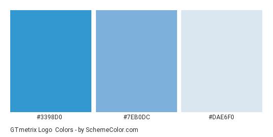 GTmetrix Logo - Color scheme palette thumbnail - #3398D0 #7EB0DC #DAE6F0