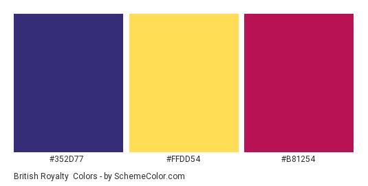 British Royalty - Color scheme palette thumbnail - #352D77 #FFDD54 #B81254