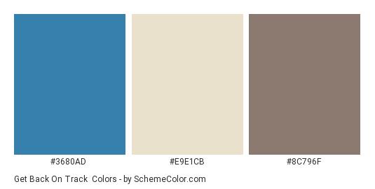 Get Back on Track - Color scheme palette thumbnail - #3680AD #E9E1CB #8C796F