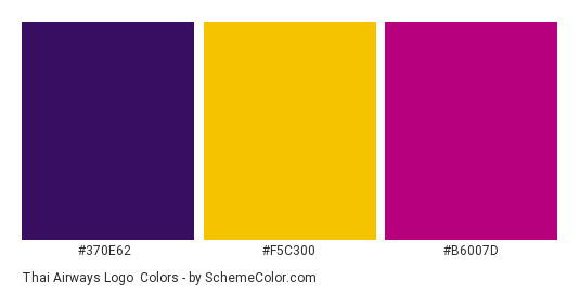Thai Airways Logo - Color scheme palette thumbnail - #370e62 #f5c300 #b6007d