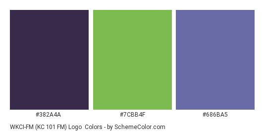 WKCI-FM (KC 101 FM) Logo - Color scheme palette thumbnail - #382a4a #7cbb4f #686ba5