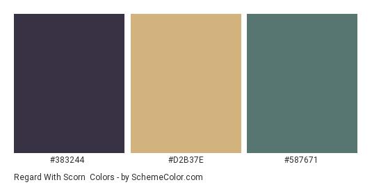 Regard with Scorn - Color scheme palette thumbnail - #383244 #d2b37e #587671