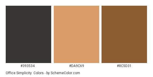 Office Simplicity - Color scheme palette thumbnail - #393534 #da9c69 #8c5d31